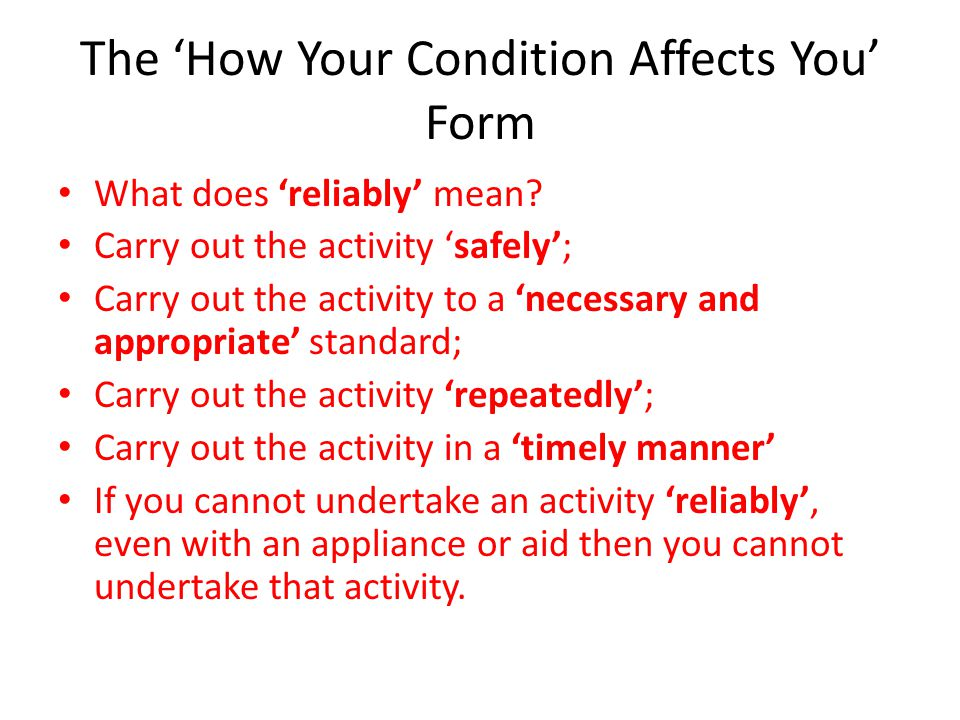 The 'How Your Condition Affects You' Form