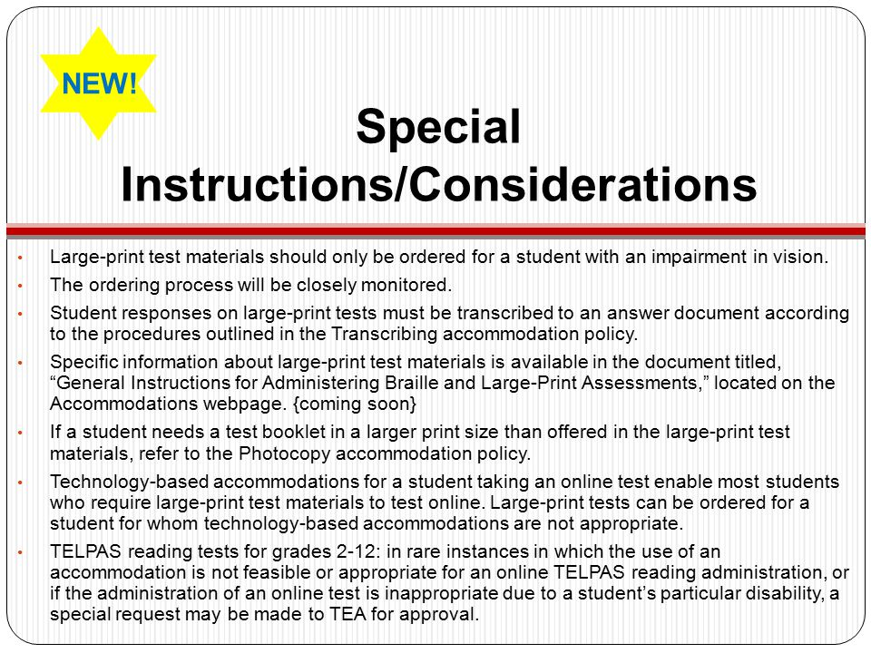 Special Instructions/Considerations