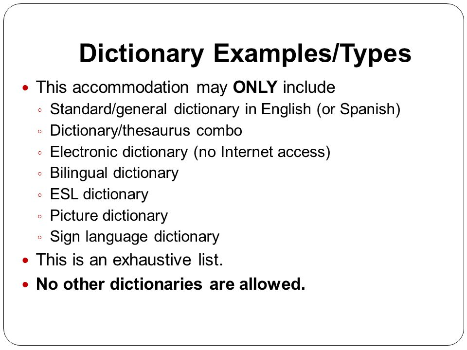 Dictionary Examples/Types