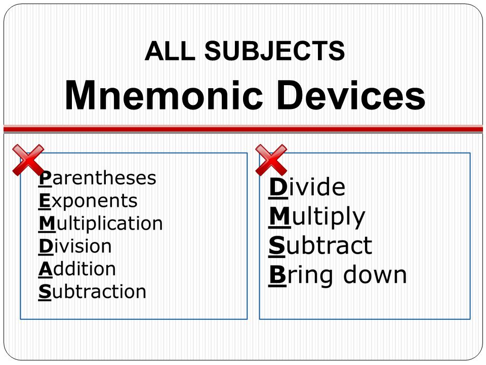 ALL SUBJECTS Mnemonic Devices