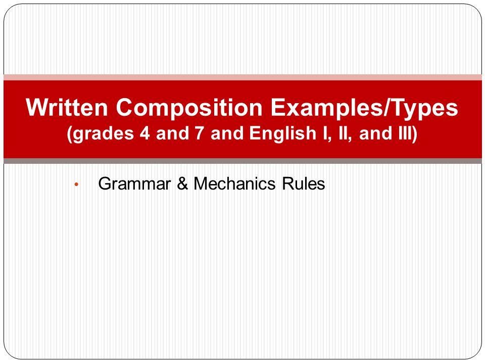Grammar & Mechanics Rules