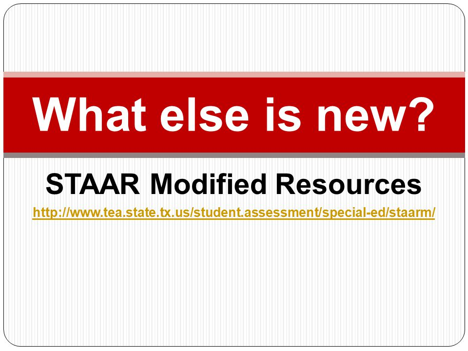 STAAR Modified Resources