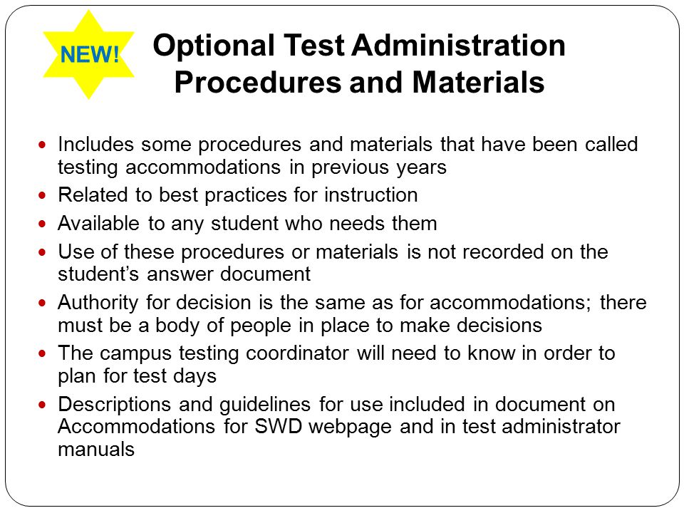 Optional Test Administration Procedures and Materials