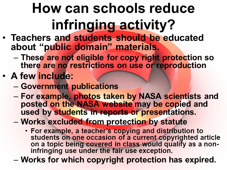 How can schools reduce infringing activity