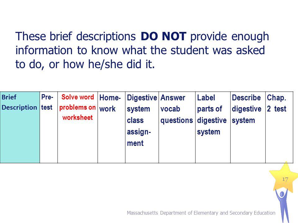 Solve word problems on worksheet