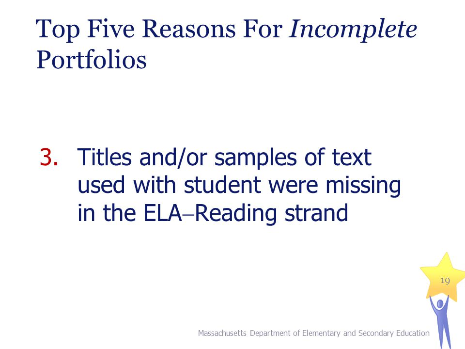 Top Five Reasons For Incomplete Portfolios