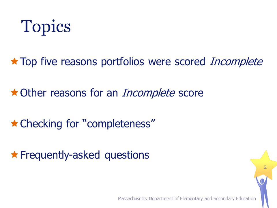 Topics Top five reasons portfolios were scored Incomplete