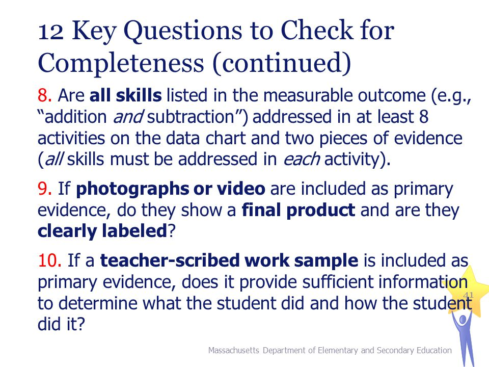 12 Key Questions to Check for Completeness (continued)