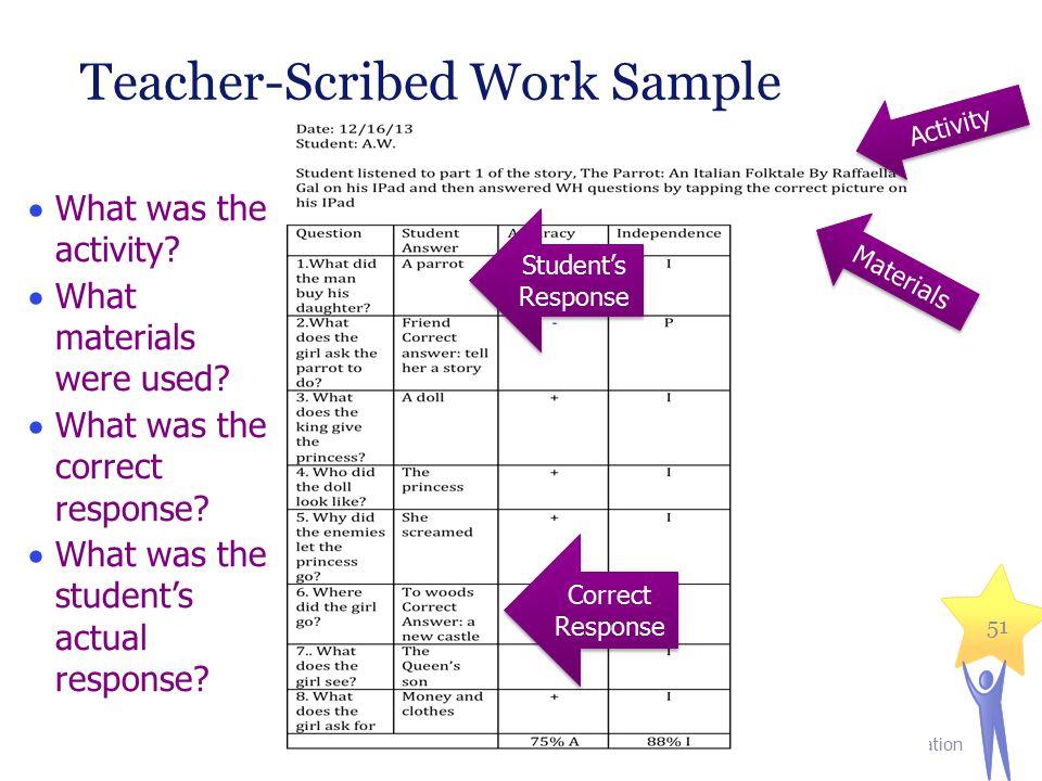 Teacher-Scribed Work Sample