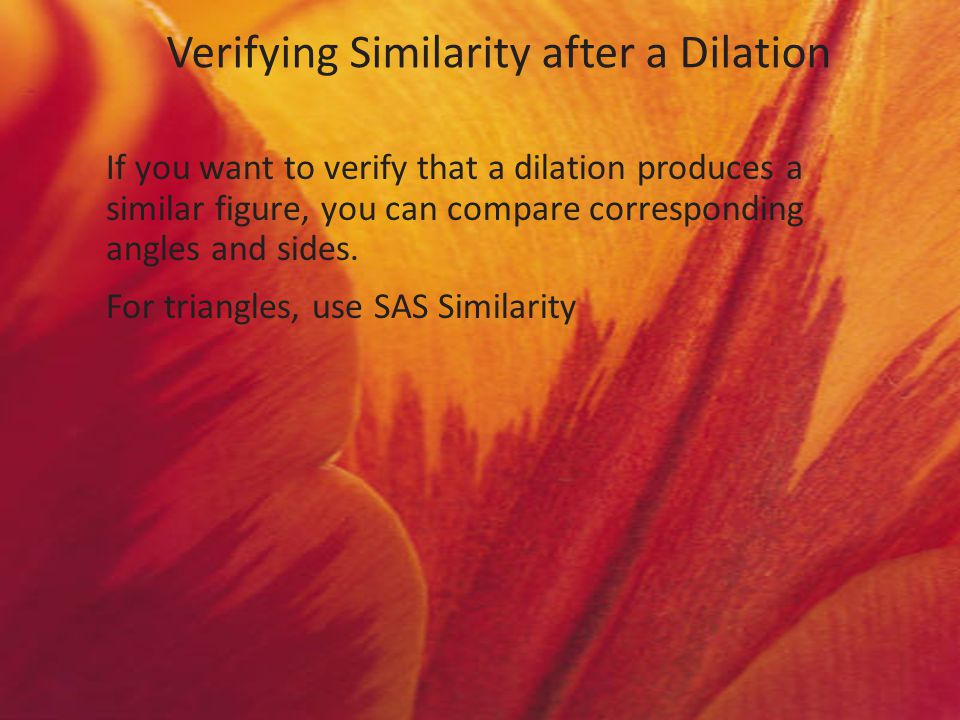 Verifying Similarity after a Dilation