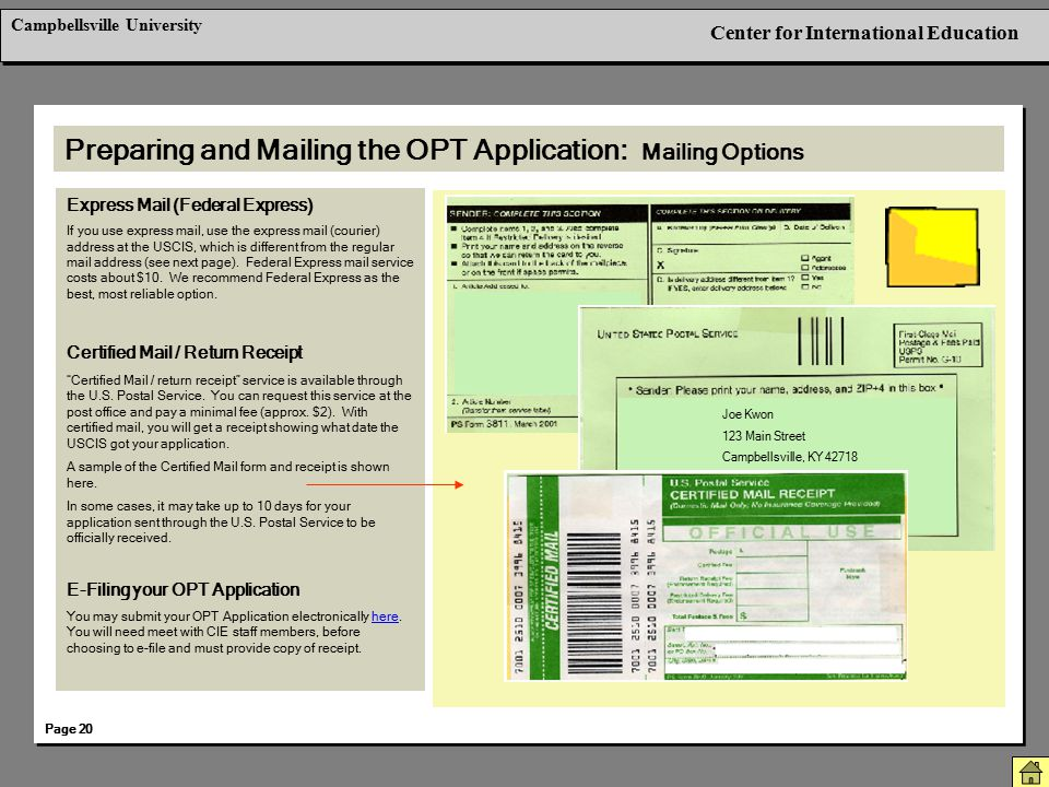 Preparing and Mailing the OPT Application: Mailing Options