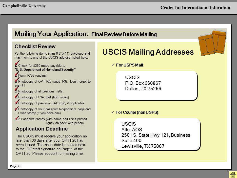 USCIS Mailing Addresses