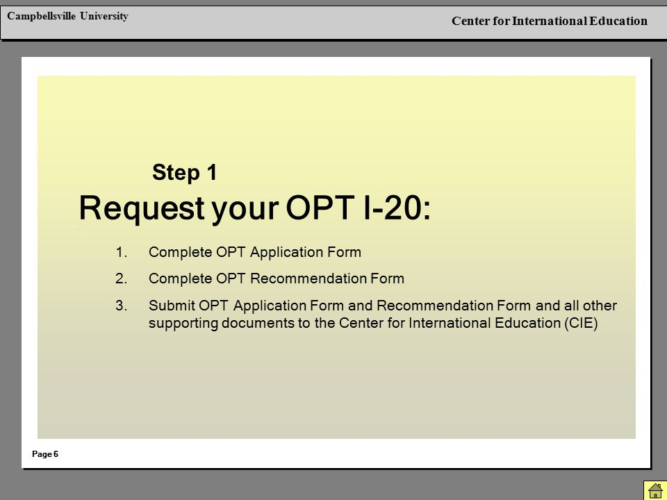 Request your OPT I-20: Step 1 Complete OPT Application Form