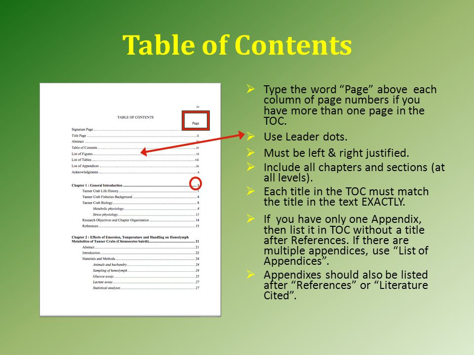 Abstract Page The Abstract page is the most read portion of your thesis.