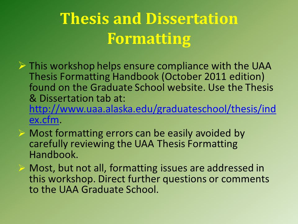 graduate school and thesis