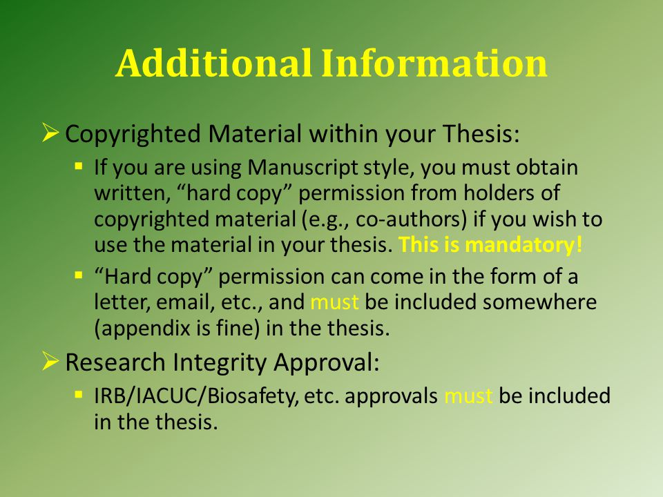 Manuscript (cont.) General Introduction and General Conclusion may have their own or combined general References/Literature Cited section.