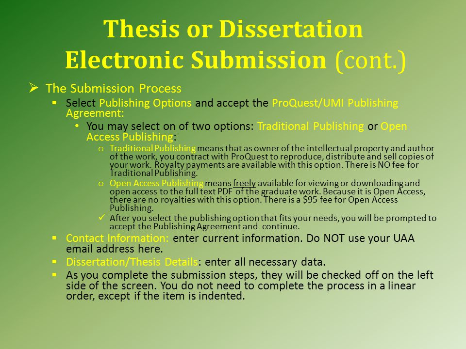 thesis electronic submission Electronic thesis submission process create a single pdf file of the textual part of the thesis, including the title page  do not use compression or password protection, and make sure that all fonts are embedded.