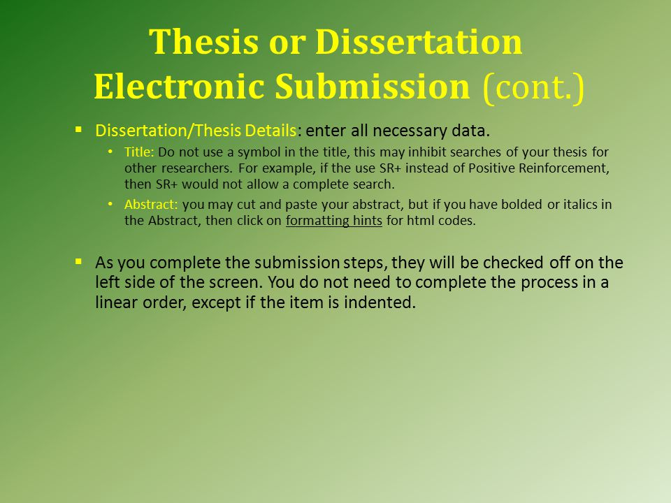 umi thesis submission You will submit your thesis or dissertation electronically to proquest/umi  to submit your thesis or dissertation, please choose the correct proquest submission.