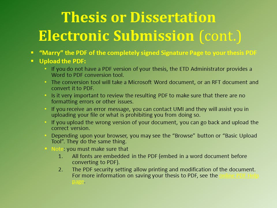 Thesis submission process nus