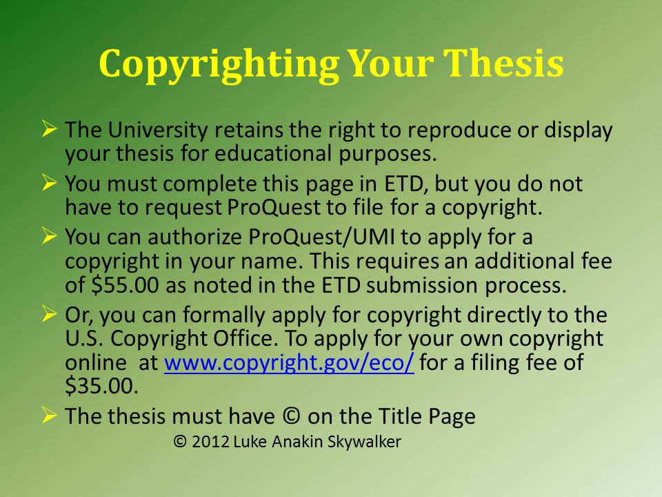 thesis electronic submission You may submit your document to proquest once you have successfully defended your thesis or dissertation and you have made the corrections that your committee wishes.
