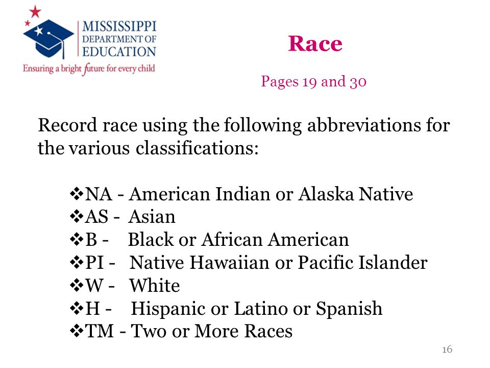 Race Pages 19 and 30. Record race using the following abbreviations for the various classifications: