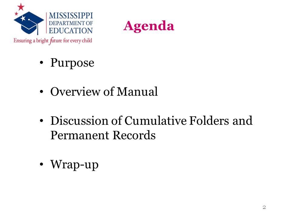 Agenda Purpose Overview of Manual