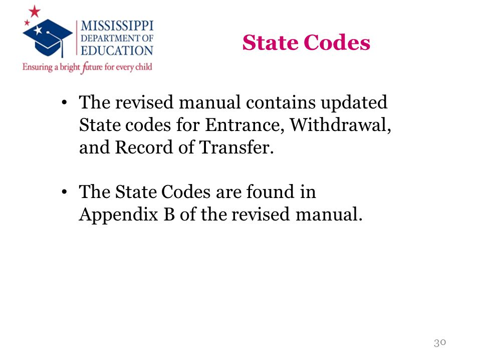 State Codes The revised manual contains updated State codes for Entrance, Withdrawal, and Record of Transfer.