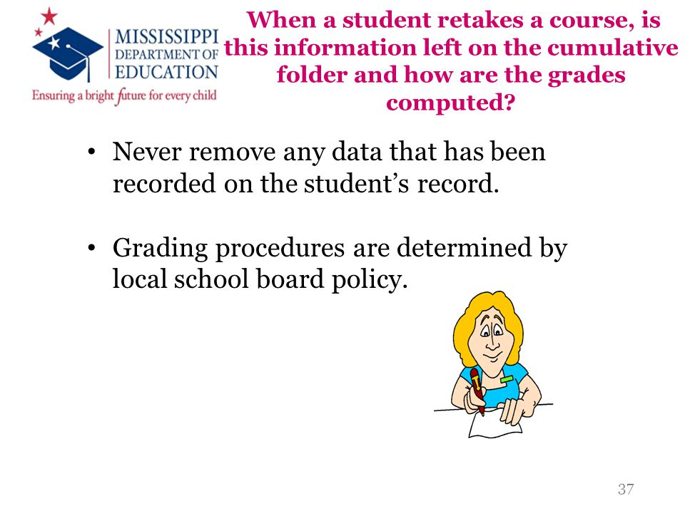 Never remove any data that has been recorded on the student's record.