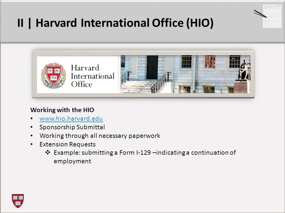II | Harvard International Office (HIO)