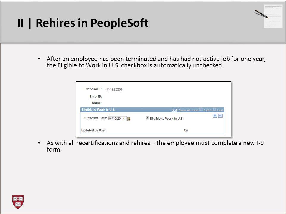 II | Rehires in PeopleSoft