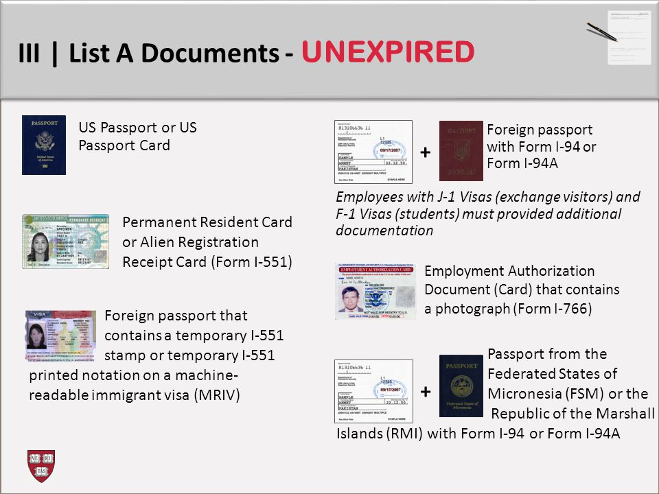 III | List A Documents - UNEXPIRED