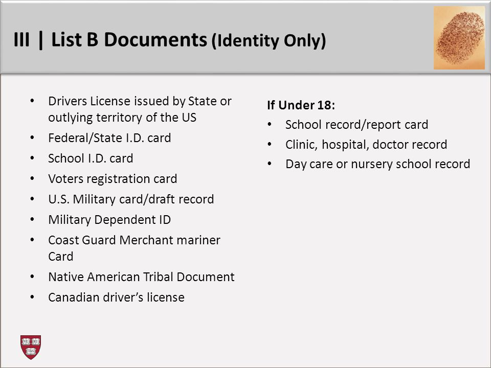 III | List B Documents (Identity Only)