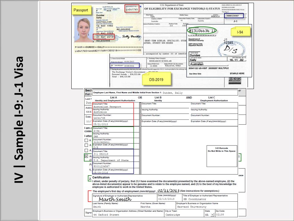 IV | Sample I-9: J-1 Visa STUFF TO POINT OUT: