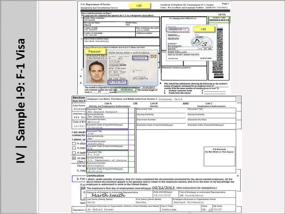 IV | Sample I-9: F-1 Visa STUFF TO POINT OUT: