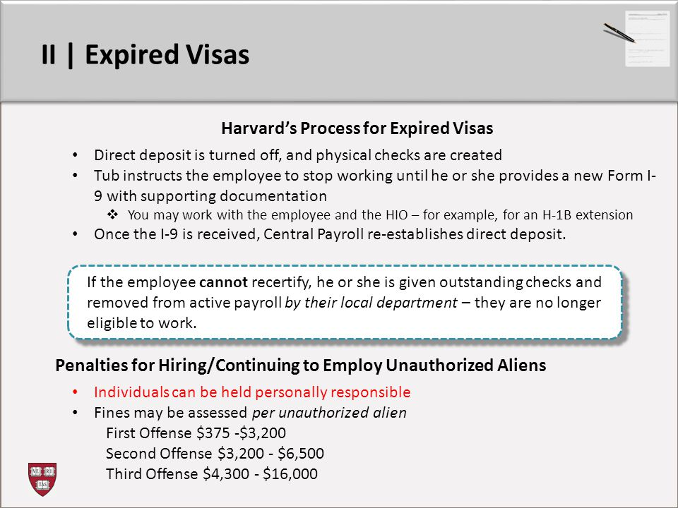 Harvard's Process for Expired Visas