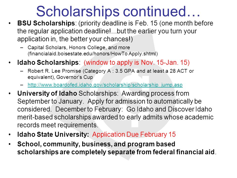 Scholarships continued…
