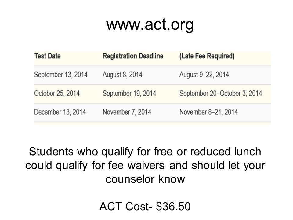www.act.org Students who qualify for free or reduced lunch could qualify for fee waivers and should let your counselor know ACT Cost- $36.50.