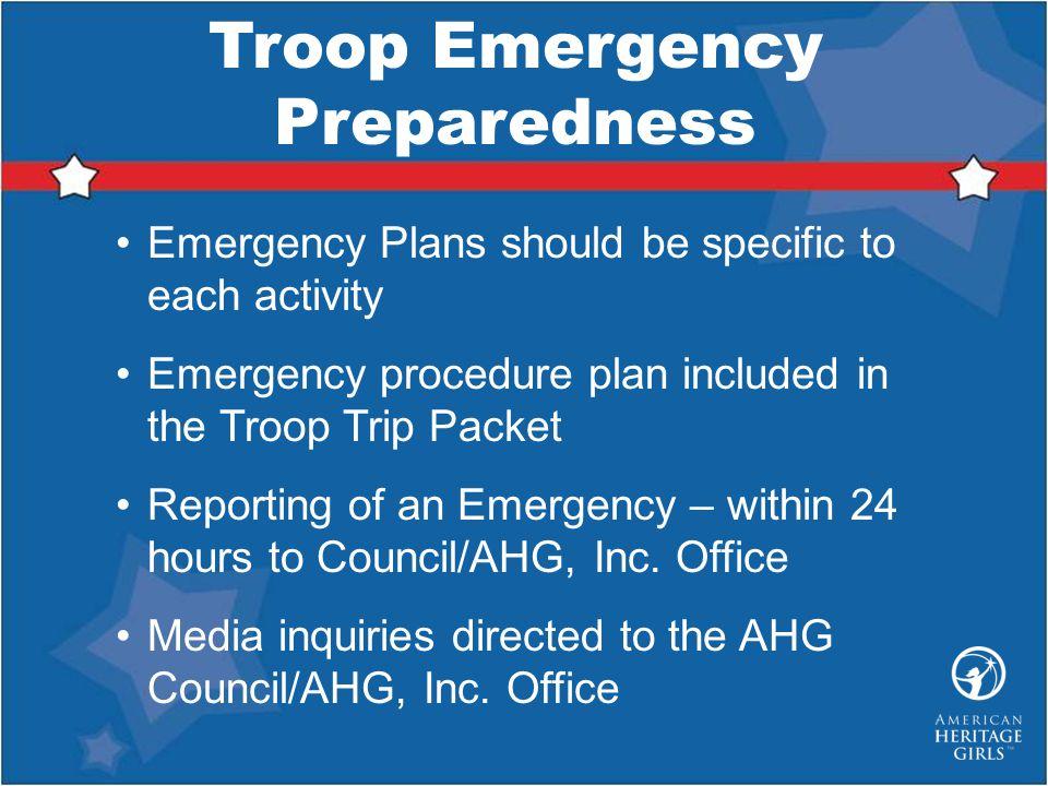 Troop Emergency Preparedness