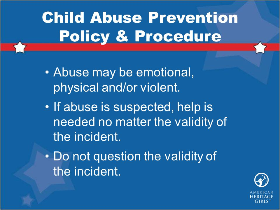 Child Abuse Prevention Policy & Procedure