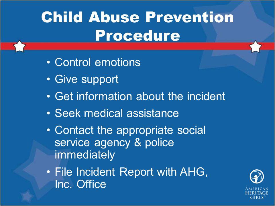 Child Abuse Prevention Procedure