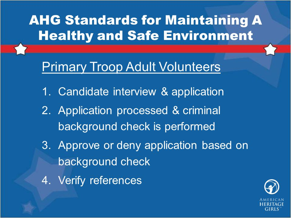 AHG Standards for Maintaining A Healthy and Safe Environment