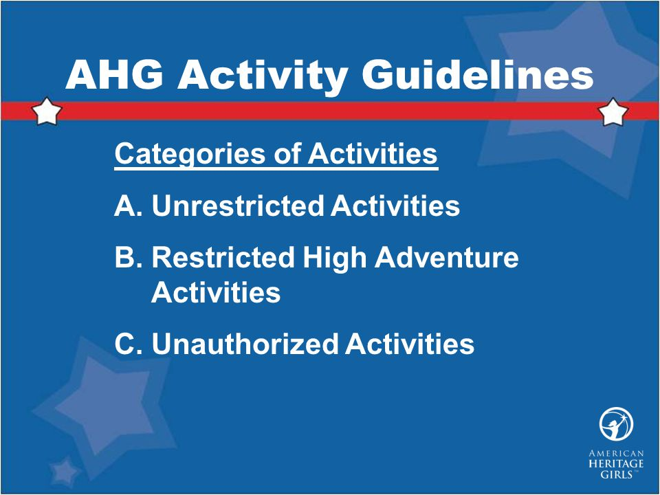 AHG Activity Guidelines
