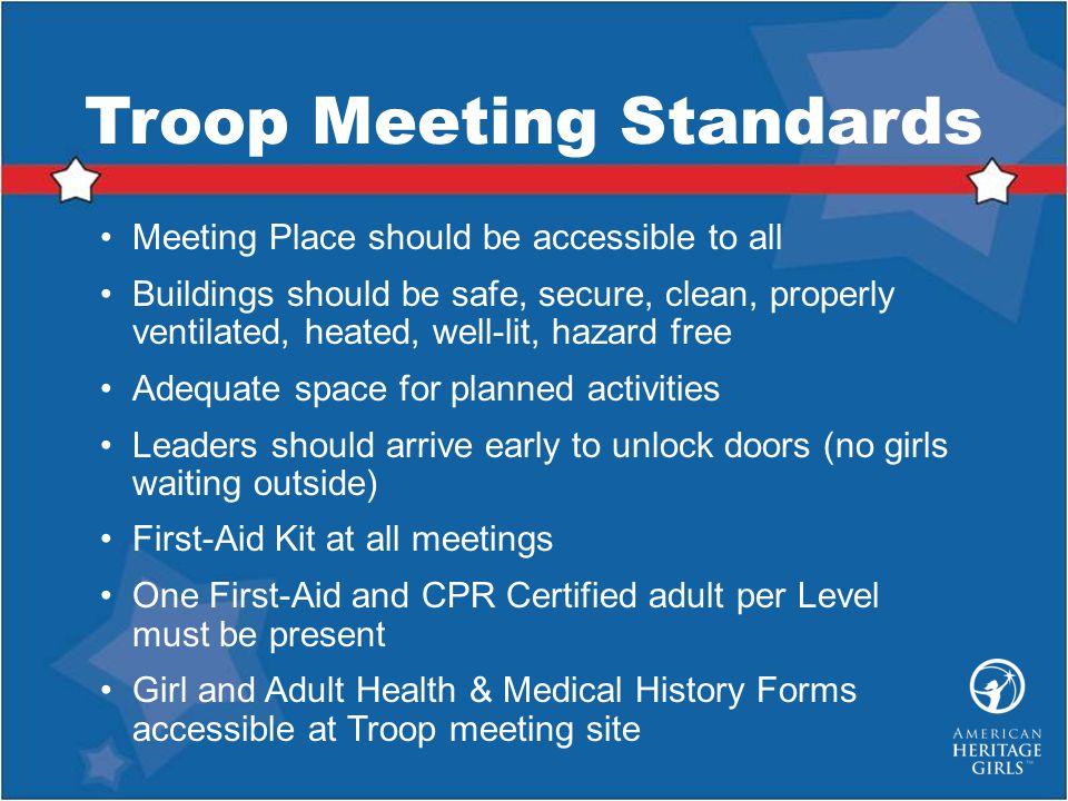 Troop Meeting Standards