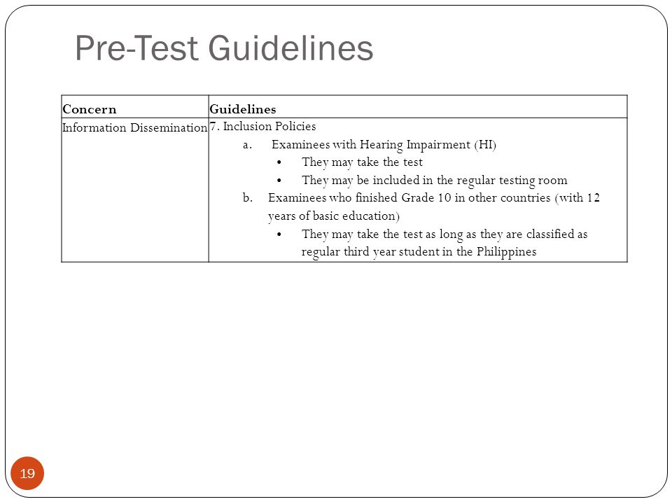 Pre-Test Guidelines Concern Guidelines Information Dissemination