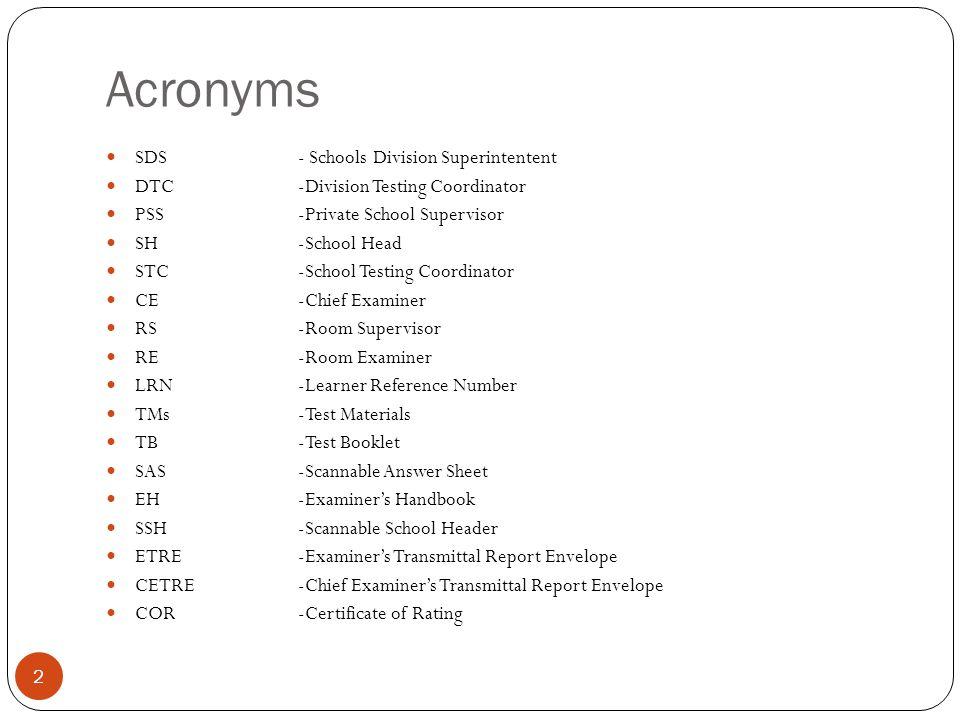 Acronyms SDS - Schools Division Superintentent