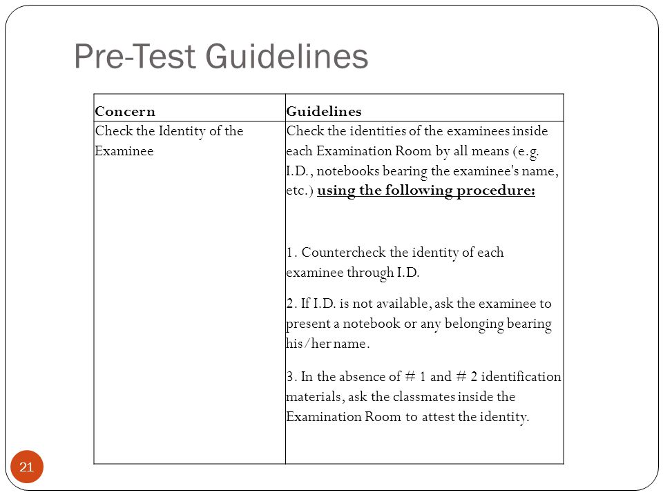 Pre-Test Guidelines Concern Guidelines