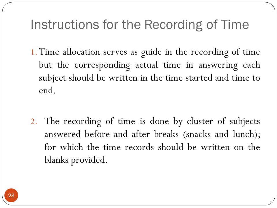 Instructions for the Recording of Time