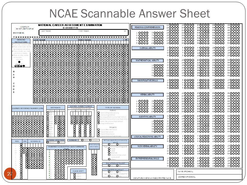 NCAE Scannable Answer Sheet