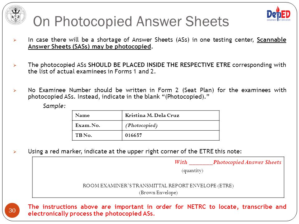 On Photocopied Answer Sheets