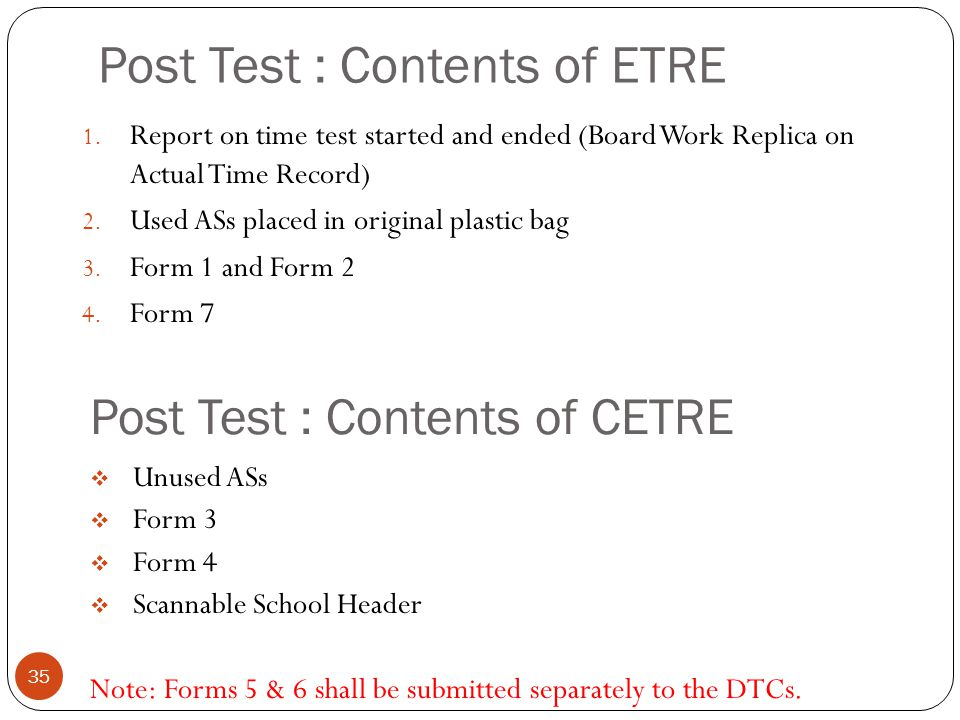 Post Test : Contents of ETRE